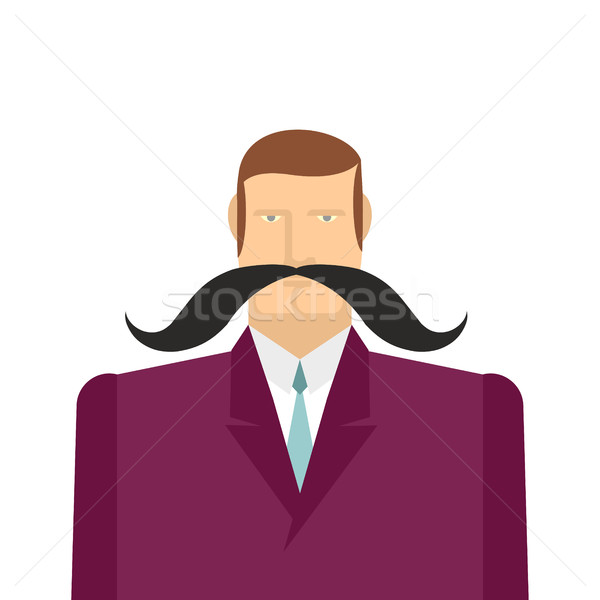 Male big black mustache. Vector illustration of a man in a suit. Stock photo © popaukropa