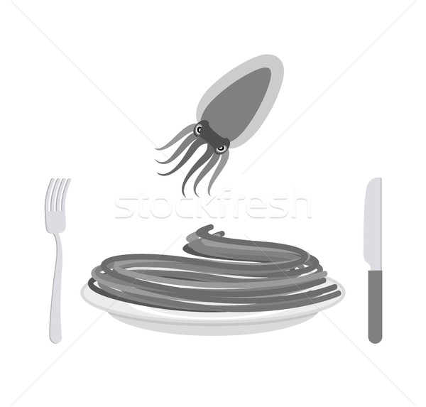Black pasta with cuttlefish ink ingredient. Spaghetti on a plate Stock photo © popaukropa
