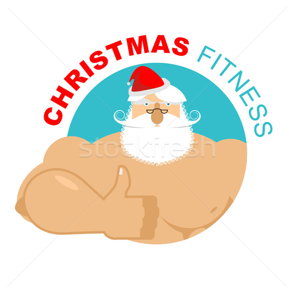 Christmas fitness. Strong Santa thumbs up. Holiday Training. Ges Stock photo © popaukropa