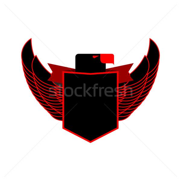 Aquila scudo emblema nero falcon ali Foto d'archivio © popaukropa