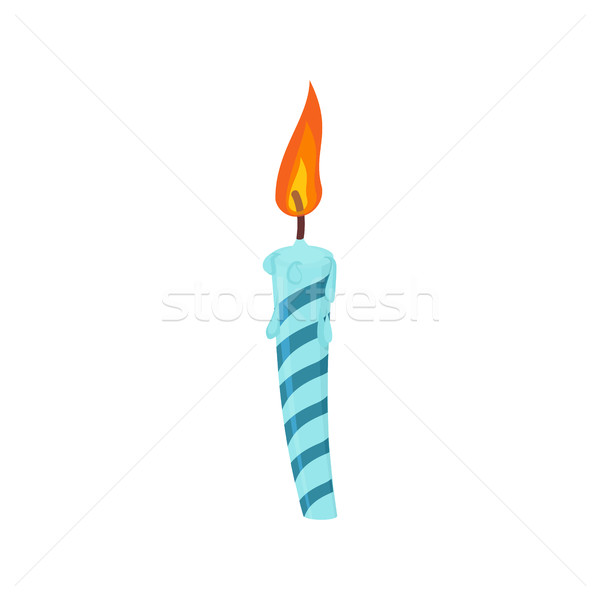 Candle birthday cake. Festive blue candle isolated Stock photo © popaukropa