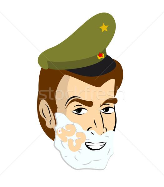 Soldato radersi schiuma faccia militari vacanze Foto d'archivio © popaukropa