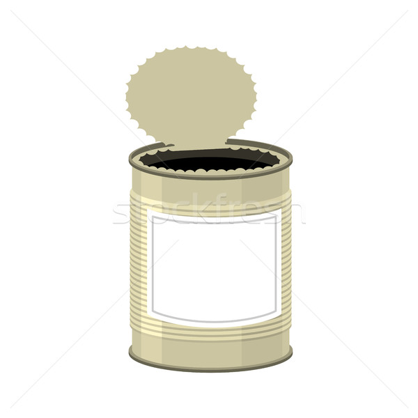 Open cans isolated. opened Tin bank on white background Stock photo © popaukropa
