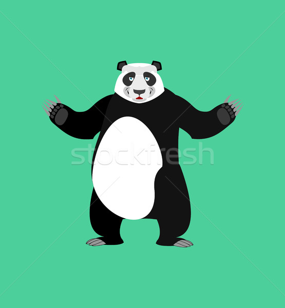 Panda Happy Emoji. Chinese bear merry emotion isolated Stock photo © popaukropa