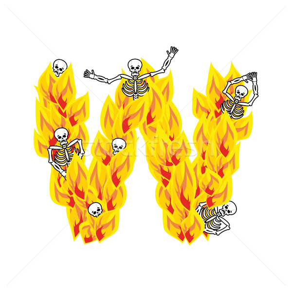 Letter W hellish flames and sinners font. Fiery lettering. Infer Stock photo © popaukropa