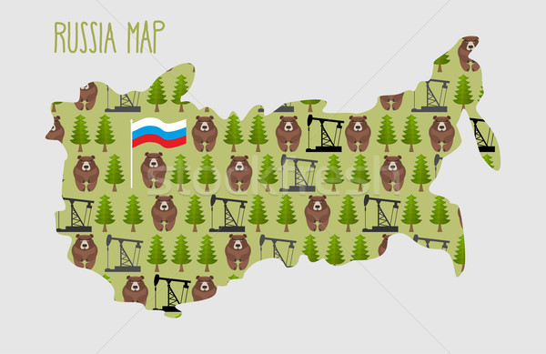 Russia Map  with minerals and flora: an oil rig and the forest, Stock photo © popaukropa