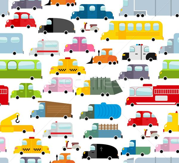 Car seamless pattern. Background of transport in cartoon style.  Stock photo © popaukropa