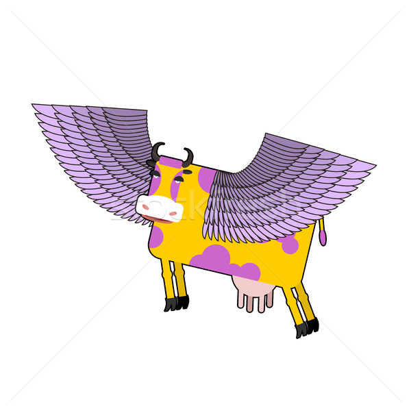 Cow with purple wings. Flying animal. vector illustration. Fanta Stock photo © popaukropa