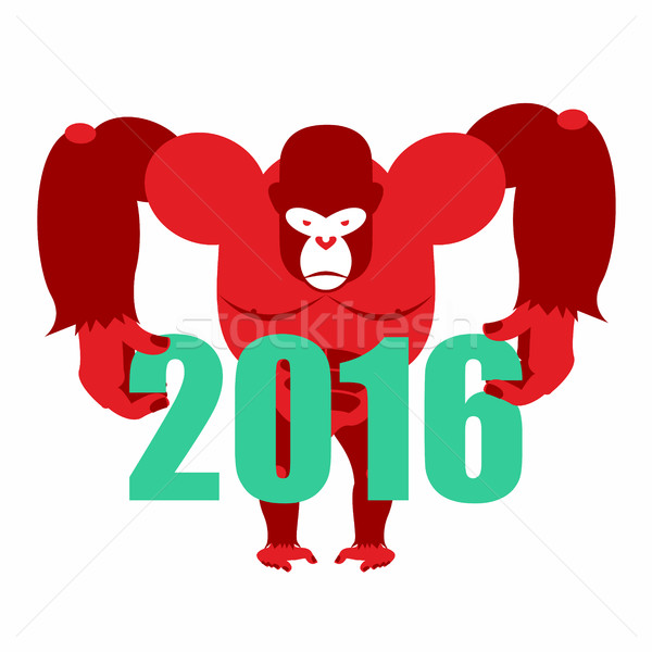 Gorilla keeps numbers 2016. Symbol of  new year red monkey. Vect Stock photo © popaukropa