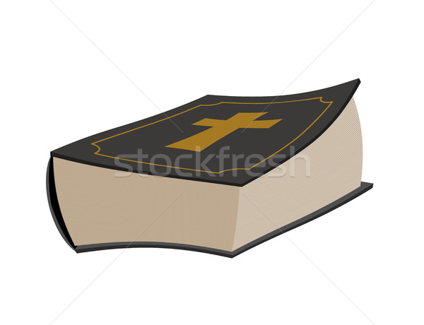 Bible isolated. Holy book on white background. Psalms with cross Stock photo © popaukropa