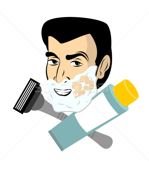 Man with shaving foam. razor and tube shaving gel. Guy shaves. N Stock photo © popaukropa