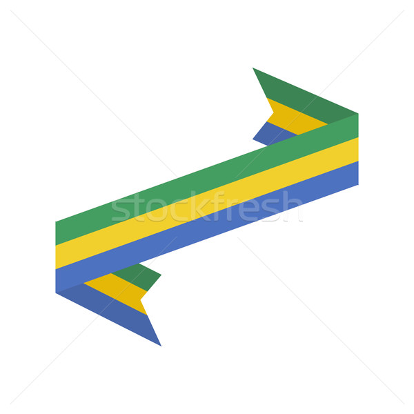 Gabon flag ribbon isolated. Gabonese Republic tape banner. State Stock photo © popaukropa