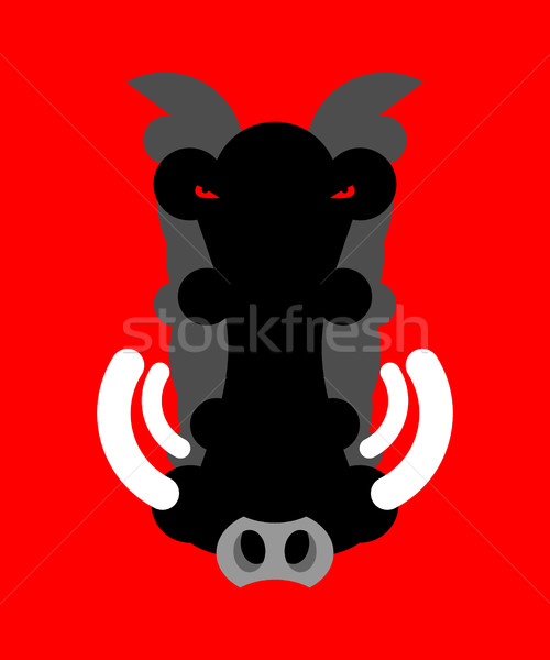 Angry boar warthog snout isolated. Head of wild aper Stock photo © popaukropa