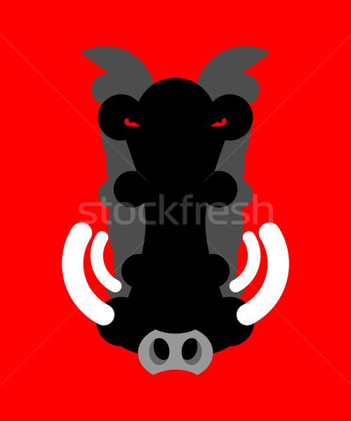Boos mannetjesvarken snuit geïsoleerd hoofd wild Stockfoto © popaukropa