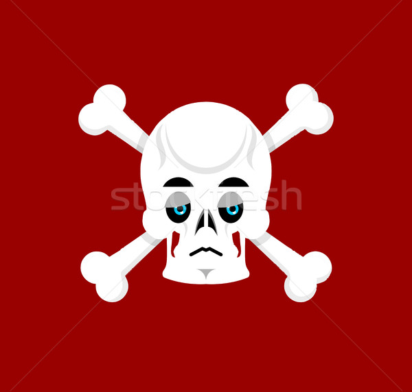Skull and crossbones Sad Emoji. skeleton head  sorrowful emotion Stock photo © popaukropa