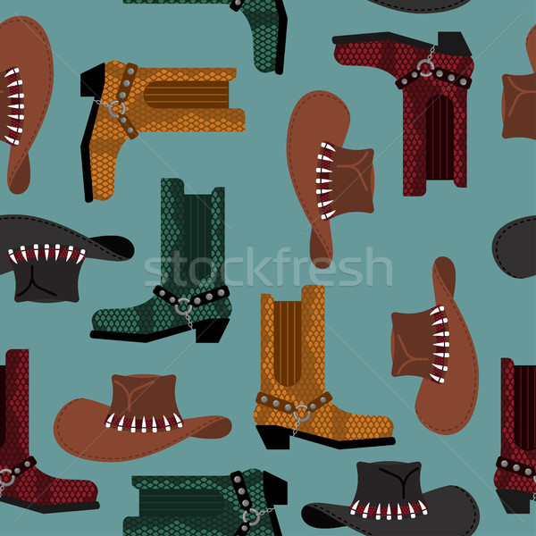 Cowboy pattern. Australian hat and crocodile leather boots. West Stock photo © popaukropa