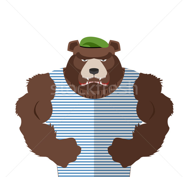 Angry bear in striped vest. Russian bear defender in a green ber Stock photo © popaukropa