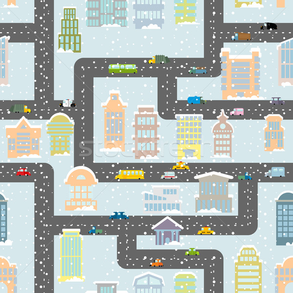 Snowfall in city seamless pattern. Urban map of winter. Backgrou Stock photo © popaukropa