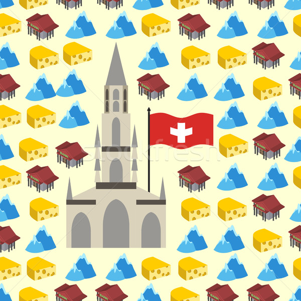 Switzerland seamless pattern of symbols of country. Banks and Al Stock photo © popaukropa