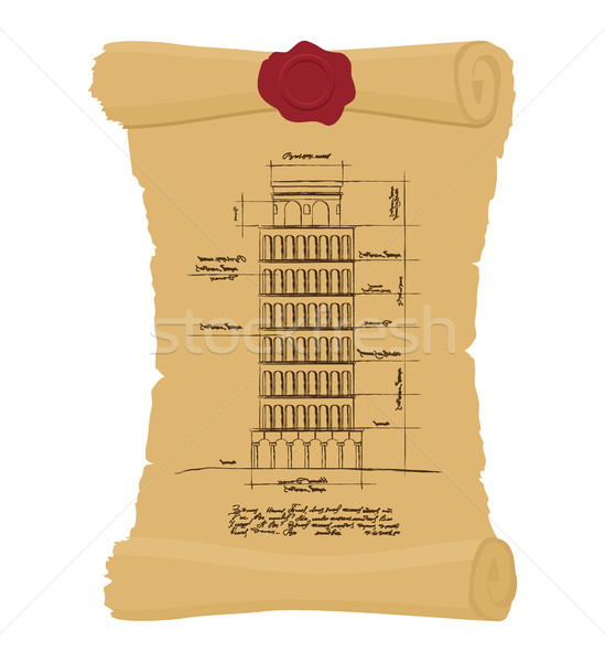 Tower of Pisa Old scroll. Ancient drawing of  leaning scheme of  Stock photo © popaukropa