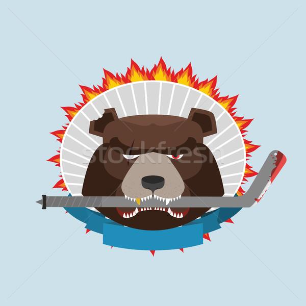Hockey emblem. Angry bear. Vector illustration Stock photo © popaukropa