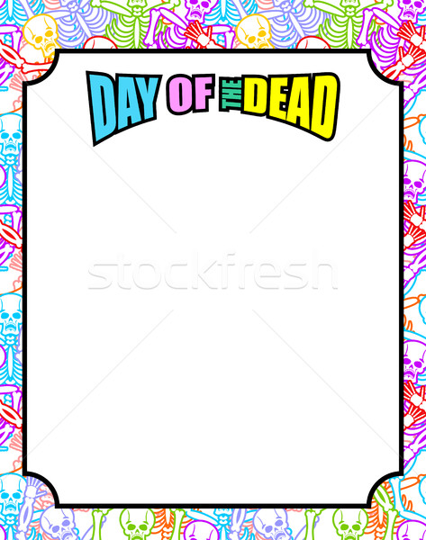 Frame for Day of the Dead. Multicolored skeletons. Color skull.  Stock photo © popaukropa