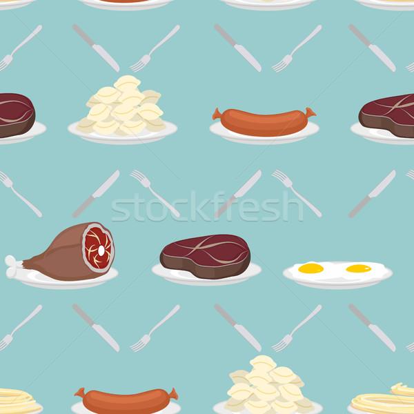 étel hús végtelen minta sonka steak rántotta Stock fotó © popaukropa