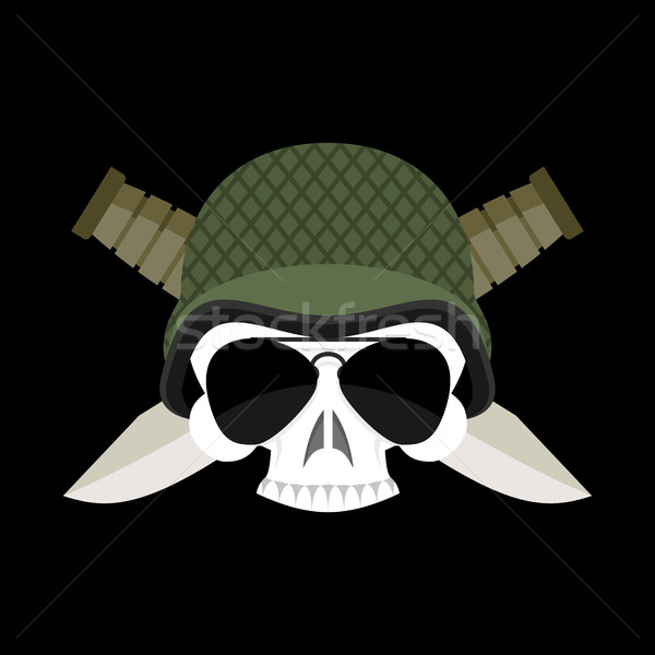 Skull in helmet military emblem. Army cap and  knife. Terrible s Stock photo © popaukropa