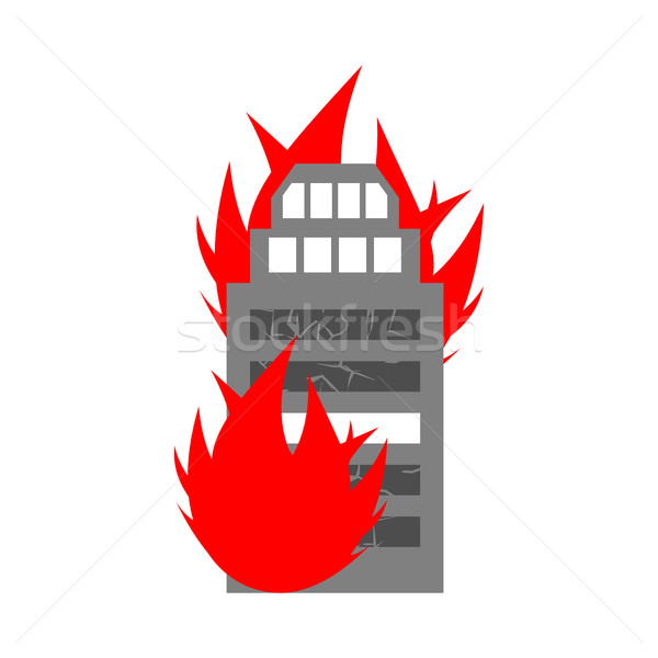 Arson home. Fire in building. Flames from office windows. Burn f Stock photo © popaukropa