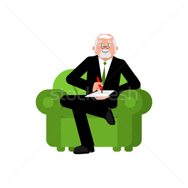 Psychologist in chair writes. Consultation of psychotherapist. S Stock photo © popaukropa