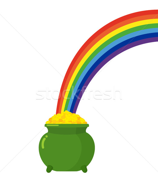 Pot of gold leprechaun and rainbow. St. Patricks Day in Ireland Stock photo © popaukropa
