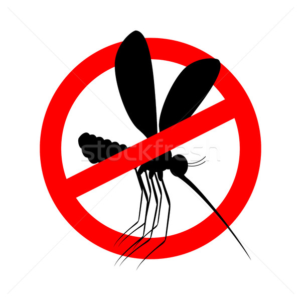 Stop mosquito. Red prohibition sign. Ban insects Stock photo © popaukropa