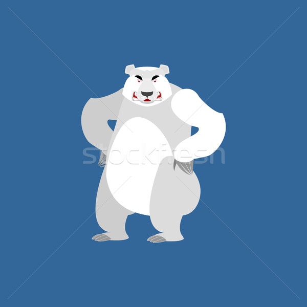Polar Bear angry Emoji. Wild animal Arctic and Antarctic. aggres Stock photo © popaukropa