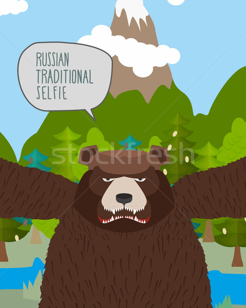 Bear takes pictures of himself in nature. Russian tradition self Stock photo © popaukropa