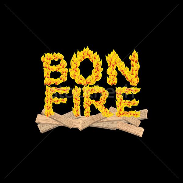 Bonfire typography. Fire letters. Burning Boards. Flame letterin Stock photo © popaukropa