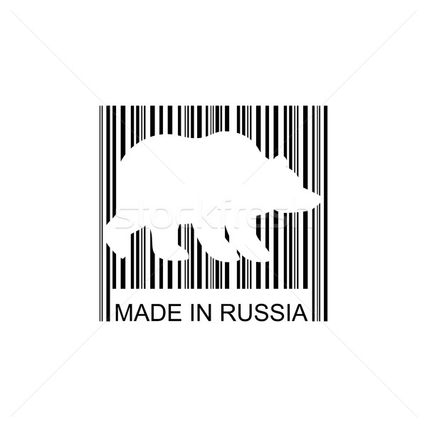 Bear barcode for goods from Russia. Wild animal bar code. Logo f Stock photo © popaukropa