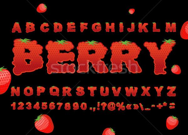 ягодные шрифт клубника красный свежие фрукты алфавит Сток-фото © popaukropa