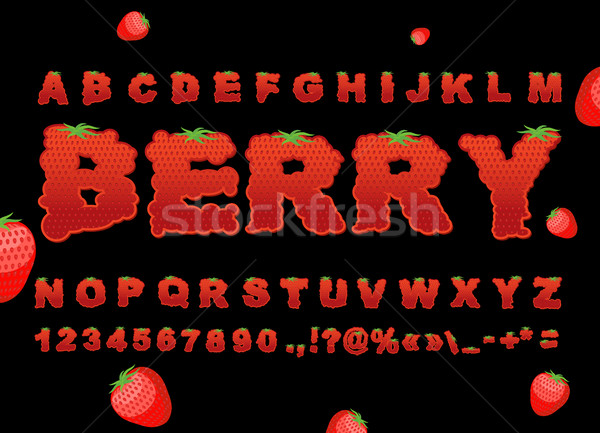 Berry police fraise rouge fruits frais alphabet Photo stock © popaukropa