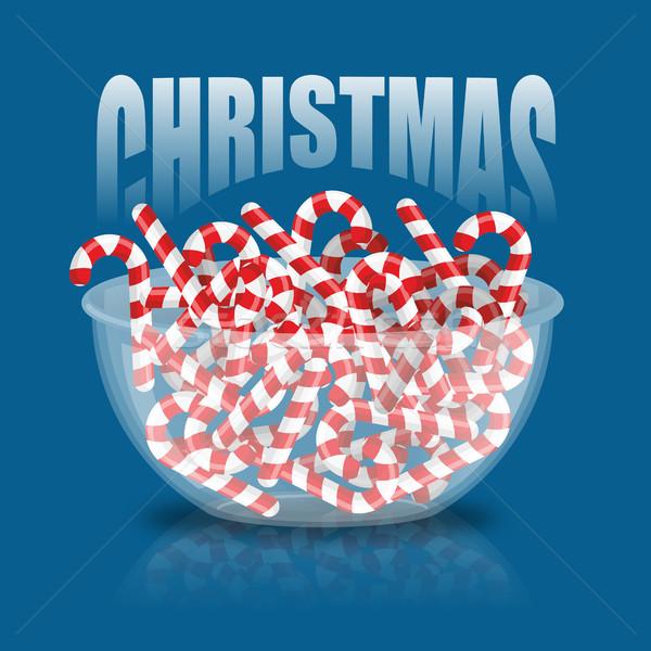 Noël bol menthe poivrée bonbons bonbons plaque Photo stock © popaukropa