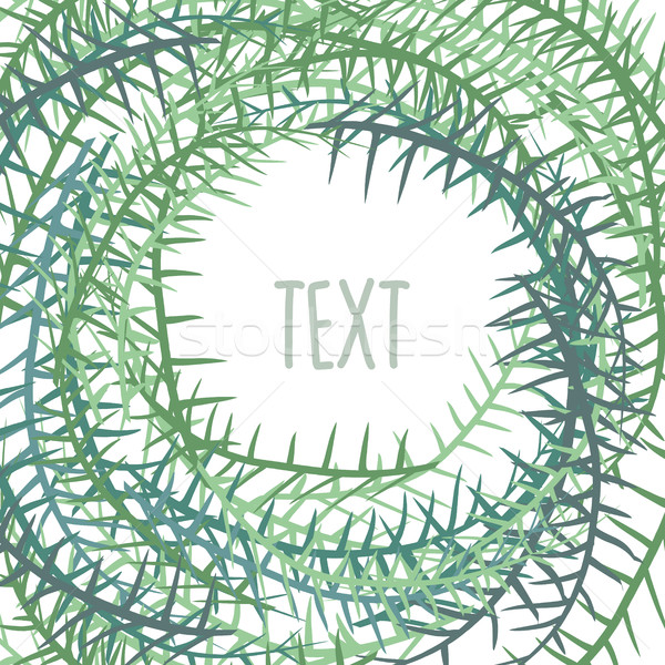 Plant frame with space for text. Algae in a circle. Vector illus Stock photo © popaukropa