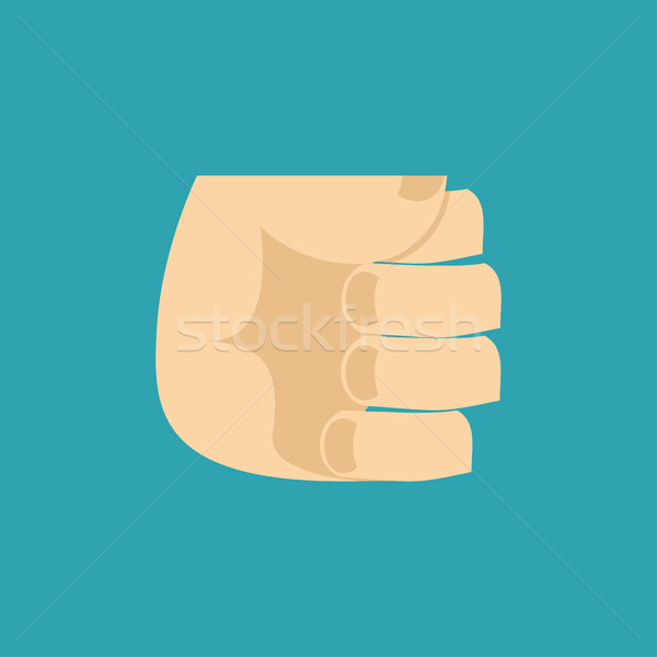 Fist isolated. Hand Brush on blue background. Stock photo © popaukropa