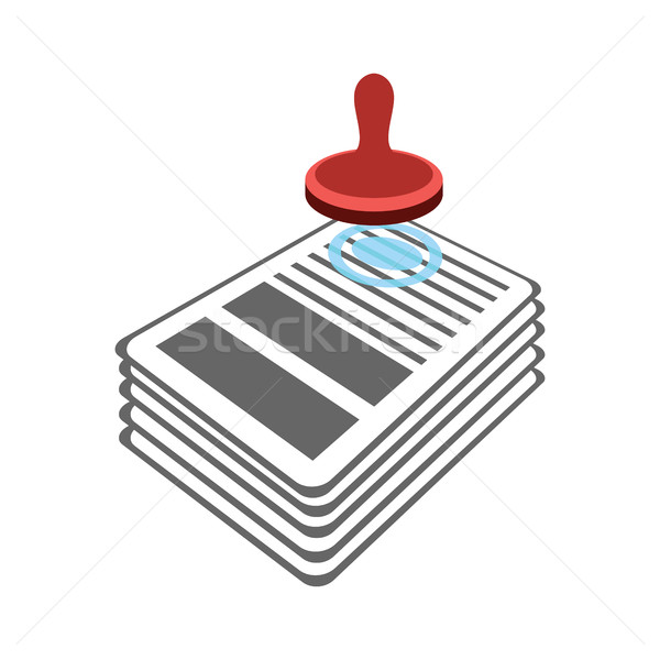 Stamp on documents icon. punch contract. Approval of official do Stock photo © popaukropa
