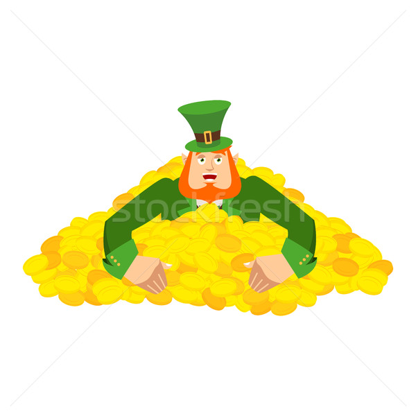Leprechaun gold . Dwarf with red beard in heap gold coins. Legen Stock photo © popaukropa