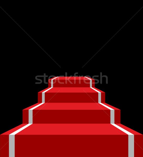 Vörös szőnyeg színpad izolált vip létra sötét Stock fotó © popaukropa