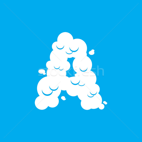 Letter A cloud font symbol. White Alphabet sign on blue sky Stock photo © popaukropa