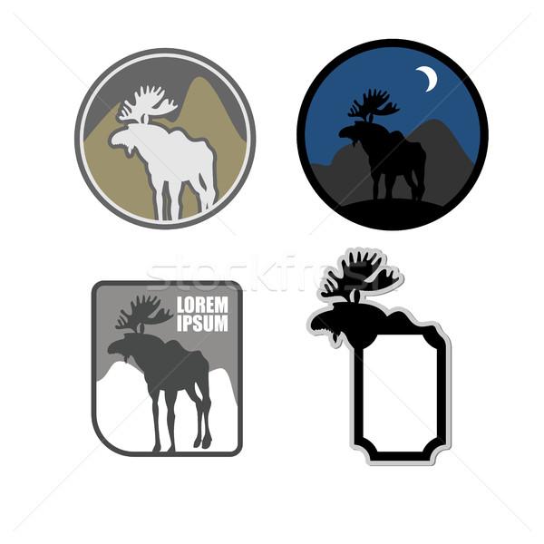 Ingesteld iconen logo eland embleem natuurlijke Stockfoto © popaukropa