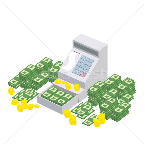 Open Cash Register Machine with a lot of money. Seller box to st Stock photo © popaukropa