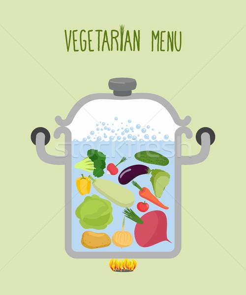 овощей кастрюля логотип вегетарианский меню полезный Сток-фото © popaukropa