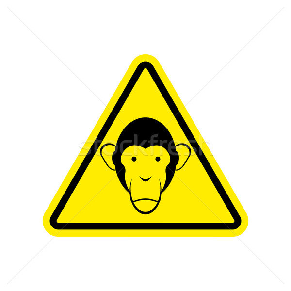 Monkey Warning sign yellow. Primacy of Hazard attention symbol.  Stock photo © popaukropa