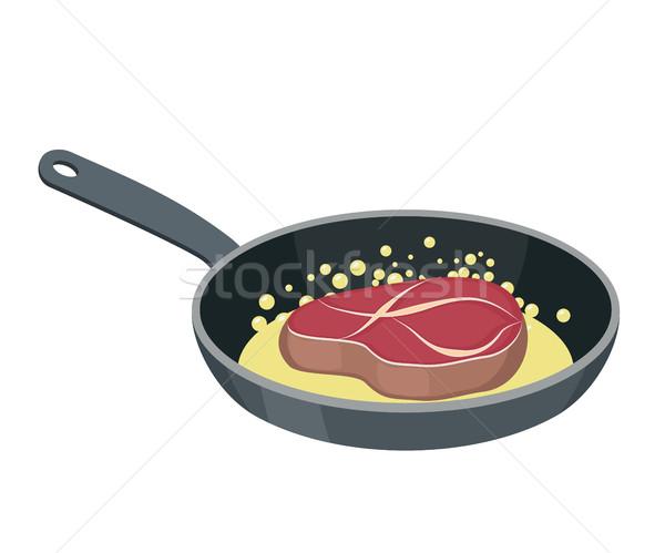 стейк сковорода бифштекс жареный кусок мяса Сток-фото © popaukropa